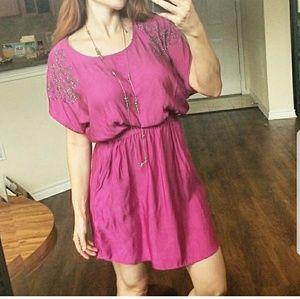 💙💛💜 Express Dolman Embellished Pocket Dress